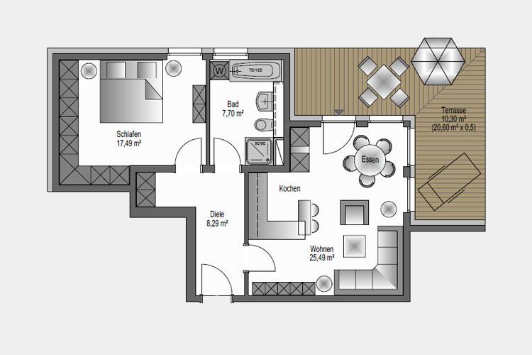 Wohneinheit 01 / 69,27 m² / 2 Zimmer-Wohnung