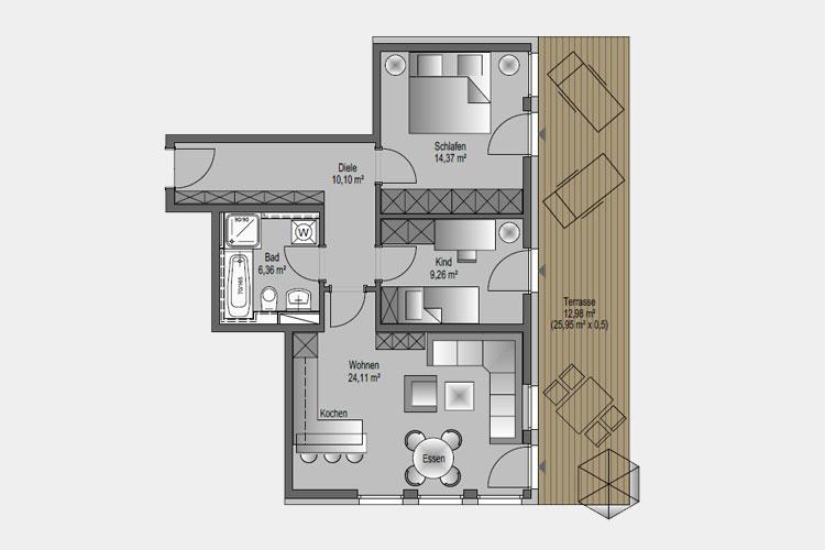 Wohneinheit 02 / 77,18 m² / 3 Zimmer-Wohnung