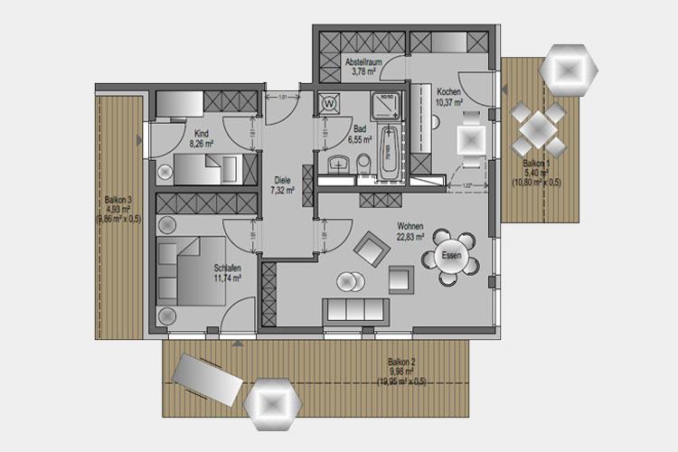 Wohneinheit 05 / 91,16 m² / 3 Zimmer-Wohnung
