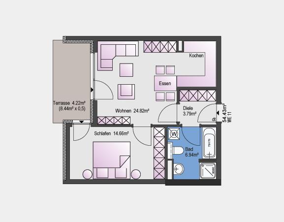 Beispiel zeigt 54,43 m² / 2 Zimmer-Wohnung