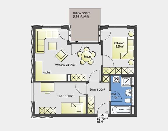 Beispiel zeigt 67,70 m² / 3 Zimmer-Wohnung