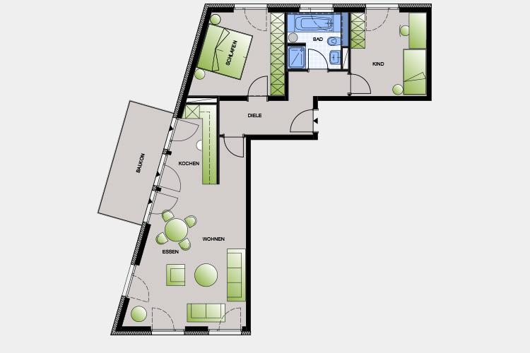 85,38 m² / 3 Zimmer-Wohnung