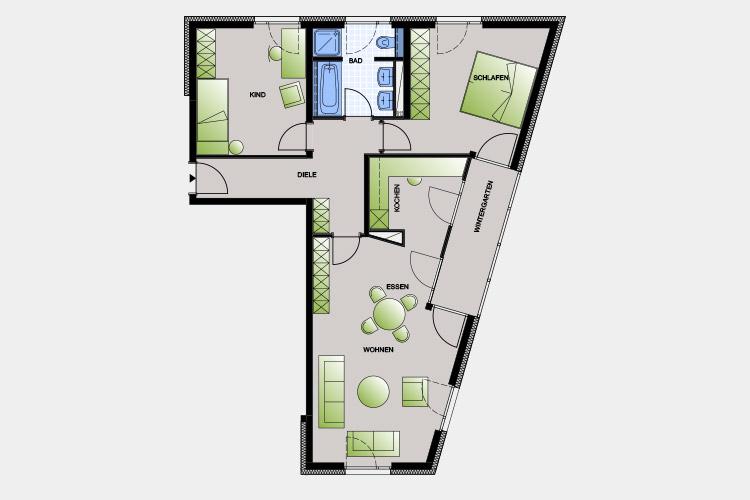 93,64 m² / 3 Zimmer-Wohnung