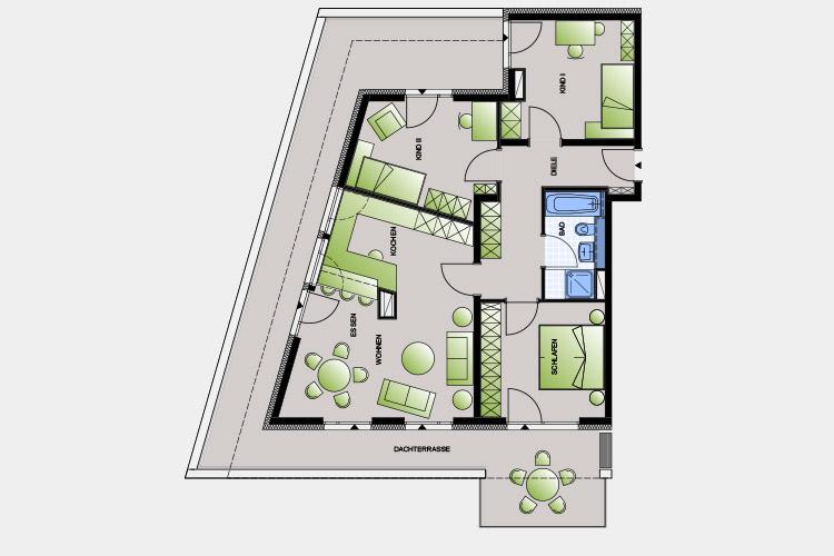 118,56 m² / 4 Zimmer-Wohnung