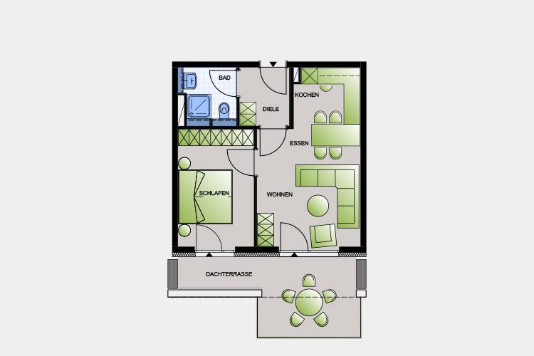 51,32 m² / 2 Zimmer-Wohnung