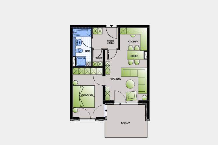 53,02 m² / 2 Zimmer-Wohnung