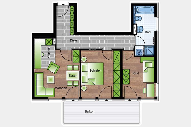 Wohnungen 3 Zimmer 74,32 m²