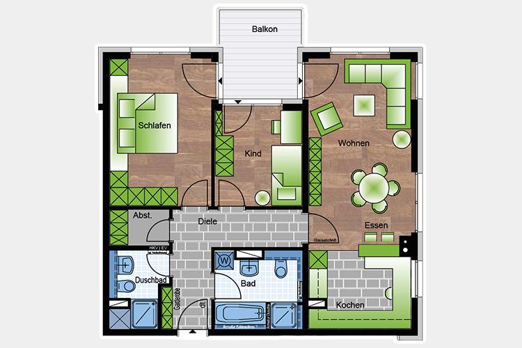Wohnungen 3 85,64 m²