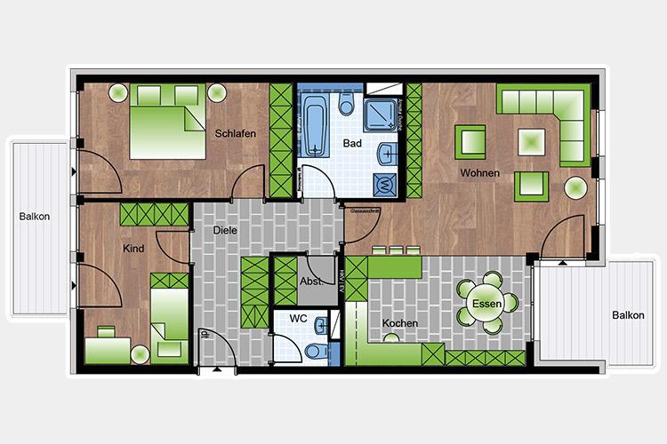 Wohnungen 2-3 Zimmer 99,35 m²