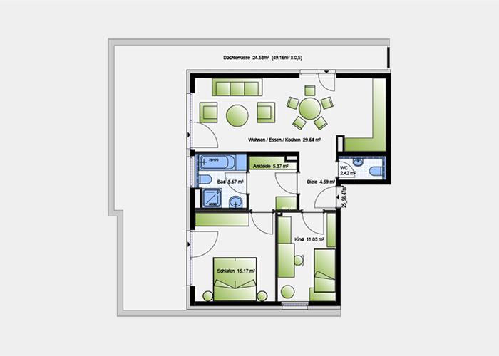 98,47 m2 / 3 Zimmer-Wohnung
