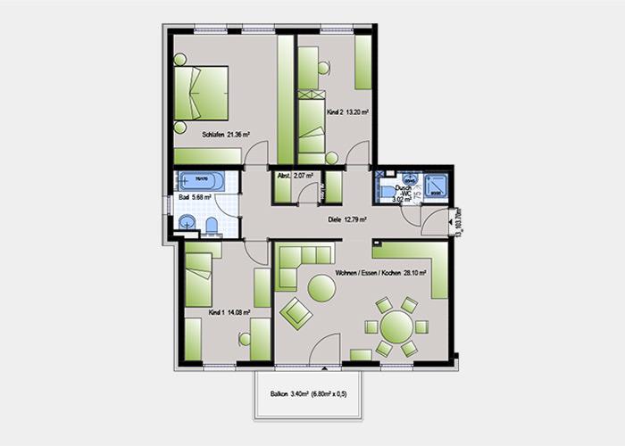 103,70 m2 / 4 Zimmer-Wohnung