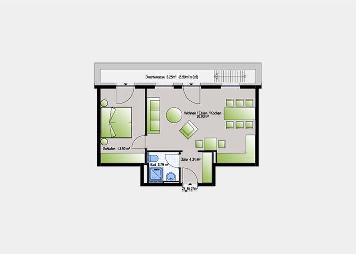 55,27 m2 / 2 Zimmer-Wohnung