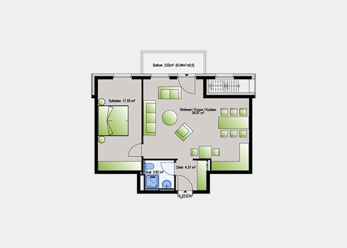 63,67 m2 / 2 Zimmer-Wohnung
