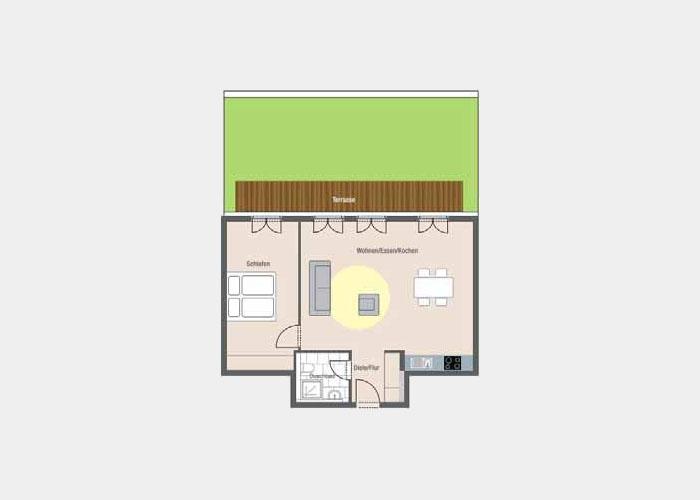 69,52 m2 / 2 Zimmer-Wohnung