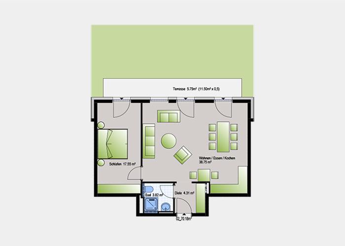 70,18 m2 / 2 Zimmer-Wohnung